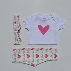 Hearts- Personalized Baby Blanket and Coming Home Outfit - Baby girl  - Swaddle blanket, onesie, leggings and knotty headband on Etsy, $22.00