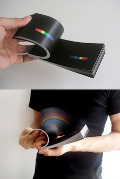"""RAINBOW IN YOUR HAND This book started as a personal project in summer 2007, and was soon published from a Japanese bookstore """"Utrecht"""". It's a flipbook, but rather than seeing animation, it creates a 3D rainbow in your hand. Since being published it has been featured on Japanese TV, Newspapers, major news & blogsites like Yahoo! news, coolhunting and fffffound. This book won this years NY ADC silver cube. (Source; submitted by mayadanielle)"""