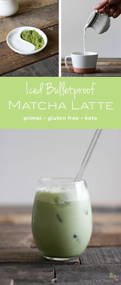 Click to get the full recipe for this dairy free, bulletproof, iced coconut matcha latte!