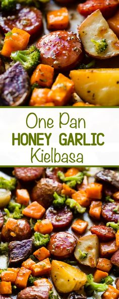 Sheet Pan Honey Garlic Kielbasa, Potatoes, & Broccoli - Oh Sweet Basil - - Need a one-pan dinner recipe? Try this Honey Garlic Kielbasa with Potatoes and Broccoli. It takes 15 minutes to prep and then just pop it into the oven! Pastas Recipes, Pork Recipes, Cooking Recipes, Healthy Recipes, Recipes With Kielbasa, Kilbasa Sausage Recipes, Beef Kielbasa Recipe, Quiche Recipes, Delicious Recipes