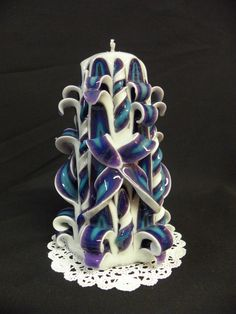 Hand Carved Candle White Purple Blue by TwoLadiesAndBunny on Etsy, Fancy Candles, White Candles, Diy Candles, Scented Candles, Carved Candles, Handmade Candles, Candle Art, Candle Lanterns, Candle Making At Home