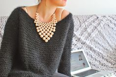 Easy Knitting, Knitting Yarn, Knitting Patterns, Pull Oversize Mohair, Pulls, Simple Style, Knitwear, Knit Crochet, Wool