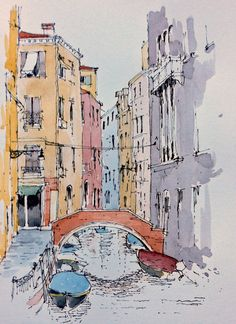 Venice sketch by John Edwards Sketch Painting, Watercolor Drawing, Watercolor Landscape, Watercolor Illustration, Landscape Art, Watercolor Paintings, Urbane Kunst, Watercolor Architecture, Watercolor Pictures