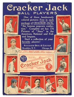 Vintage Cracker Jack Baseball Cards advertising photo.  One of the coolest pieces of vintage baseball memorabilia on the planet.