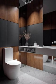- AkhunovArchitects, guest toilet / гостевой туалет / Дизайн … AkhunovArchitects, guest toilet / guest toilet / Interior Design in Perm and not only - Modern Bathroom Design, Contemporary Bathrooms, Bathroom Interior Design, Interior Modern, Modern Toilet Design, Serene Bathroom, Interior Colors, Bathroom Designs, Interior Ideas