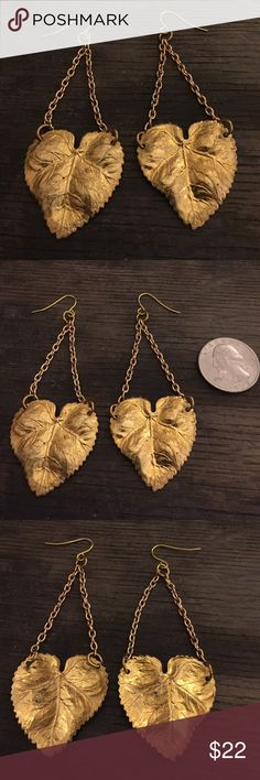Vintage Brass leaf heart chandelier earrings Luxe Nature Hippie Chic! Beautiful brass leaf pendants hang from chain and fish hook earrings. Measure approx 2.5 inches in length. Brass pendants have gorgeous detailing and brilliant golden hue. Jewelry Earrings