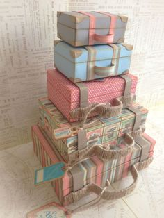 'Come Away with Me' Stacked Suitcases (view + Snapguide and Video Tutorial by Katie Zoey Ho - Wendy Schultz ~ Graphic 45 Projects Diy Love, Matchbox Crafts, Do It Yourself Baby, Diy And Crafts, Paper Crafts, Paper Art, Vintage Suitcases, Vintage Luggage, Graphic 45