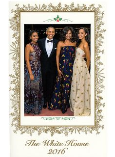 New look: President Obama and the first family have sent out their final White House holiday card, choosing a candid image taken at a State Dinner in March (above)