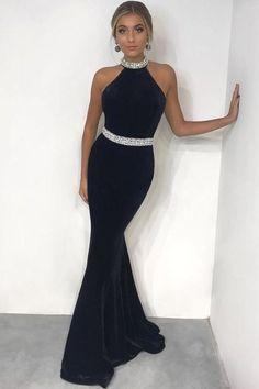 Charming Elegant Long Sheath Black Prom Dresses Simple Evening Dresses from prom dress Prom Dresses For Teens, Black Prom Dresses, Mermaid Prom Dresses, Halter Prom Dress, Prom Gowns, Dress Black, Wedding Dresses, Simple Dresses, Elegant Dresses