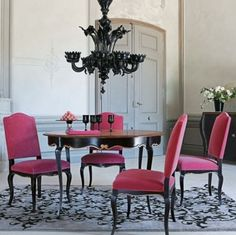 Pink chairs and black accents...I'm in love!