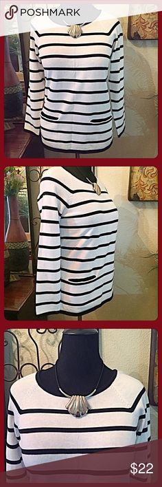 """30% OFF BUNDLES❤️Classic Black & White Stripe Top. Great medium weight cotton knit long sleeved top to have in your wardrobe. Goes with anything from jeans to black or white pants. Pop it with a red necklace or jacket. Semi-fitted raglan sleeves. Slit pockets. Measurements: Bust =36"""", Shoulder span=17"""", Length from shoulder=approx. 26"""". Sweep=42"""". Size M. NWOT. Best fits an 8-10. Optic white & black stripes. Lumiere Tops"""