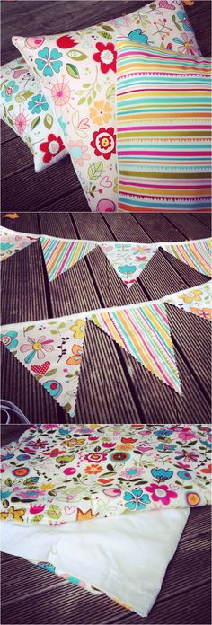 Bunting, Cushion Covers and Duvet - made from Riley Blake Sunny Happy skies