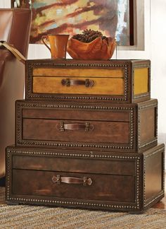 You'll discover our Voyager Chest is packed with originality. Ordinary end tables just don't stack up. Vintage Safari, Vintage Travel, British Colonial Style, Harvest Decorations, Find Furniture, Dresser As Nightstand, Engineered Wood, Leather Handle, End Tables