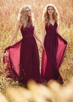 Wine Red Bridesmaid Dresses Halter V Neck Prom Dress Long Evening Gowns boho wedding dress Country Western Wedding vestido longo Custom Made