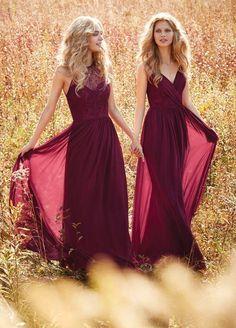 Wine Red Bridesmaid Dresses Halter V Neck Prom Dress Long Evening Gowns boho wedding dress Country Western Wedding vestido longo Custom Made
