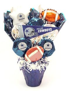 Dallas Cowboy goody bags... Inexpensive cups filled with candy ...