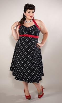 Plus Size Vintage Halter Dress    Dots of Fun!    Sizes 1X-5X    $89.00