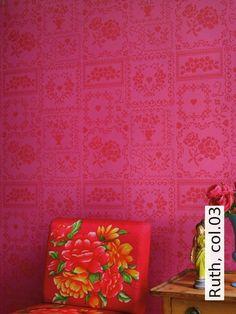 Tapete Ruth, Col.03 | Die TapetenAgentur Moderne Muster, Tapeten, Rot