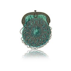 1900'S TURQUOISE VELVET & SILVER BEADS STERLING FRAME COIN PURSE ❤ liked on Polyvore featuring bags, handbags, clutches, bolsos, silver beaded purse, green coin purse, velvet handbag, green handbags and green purse