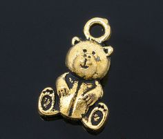 6 Gold Tone Metal TEDDY BEAR Reversible Pendant Charms by SmartParts, $2.19 alpha phi, kappa delta for jewelry making, craft supplies
