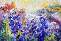 Artists Of Texas Contemporary Paintings and Art - Palette Knife Bluebonnet Painting by Texas Artist Niki Gulley