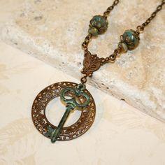 Key necklace, Verdigris patina necklace, Vintaj jewelry