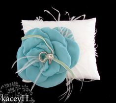 Ivory silk dupioni ring pillow with a Tiffany by TwistedCrystals, $44.00