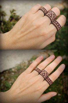 Bohemian rings set Unusual boho rings Three par HappyBeadwork - Before After DIY Seed Bead Jewelry, Bead Jewellery, Diy Jewelry, Jewelry Gifts, Beaded Jewelry, Handmade Jewelry, Jewelry Making, Leather Jewelry, Luxury Jewelry