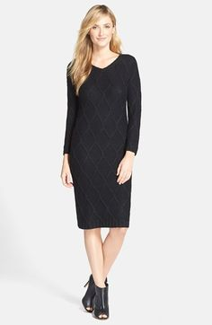 Marc New York by Andrew Marc Metallic Cable Knit Sweater Dress | Nordstrom