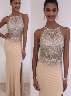 Fabulous Jewel Sleeveless Floor-Length Beige Mermaid Prom Dress with Beading Legslit