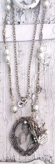 Marilyn Monroe Antique Photo Pearl Pendant Necklace by Secret Stash Boutique on Etsy