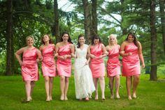 Rolling Acres Timberhouse (Pittsburgh) Wedding Photography; pink bridesmaid dresses