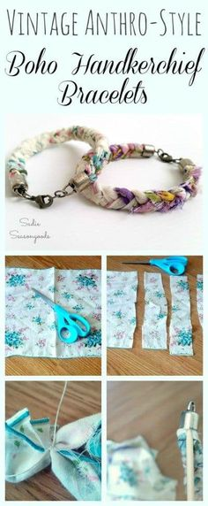Anthro-style Shabby Chic Vintage Handkerchief / Hankie Braided Bracelets Get gorgeous, shabby chic Anthropologie style for a lot less with this fun, DIY upcycle project. Repurpose a vintage handkerchief / hankie into a vint. Fabric Jewelry, Boho Jewelry, Jewelry Crafts, Handmade Jewelry, Diy Jewelry Recycled, Jewelry Box, Dread Jewelry, Diy Jewelry Gifts, Fabric Bracelets