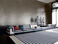 Love the wall -- and the sofa -- but different pattern for me -- JEAN PAUL GAULTIER FOR ROCHE BOBOIS