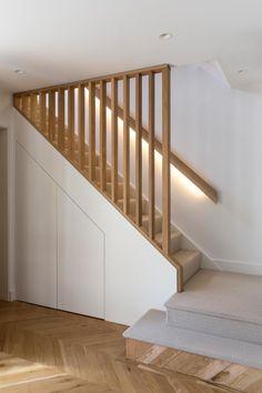 Home Stairs Design, Railing Design, Interior Stairs, Home Interior Design, House Stairs, Basement Staircase, Staircase Storage, Stair Storage, Modern Stairs