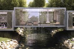 A new design from the studio ObjecktCreative, The Bridge House, featuring three cubes placed accordingly over a creek. You get nice views from every angle, and you can easily cross over the water at any time by going into your living room.