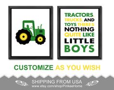 tractors trucks and toys nursery quote, green tractor baby decor, tractor toddler art, truck kids room decor, tractor boy wall art, tractor gift for boys by PinkeeHome