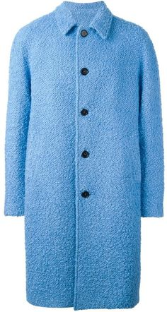 Designer Clothes, Shoes & Bags for Women Blue Trench Coat, Pea Coat, Mens Overcoat, Blue Wool, Msgm, Single Breasted, Mens Fashion, Stylish, Men's Coats