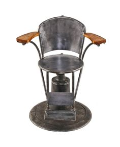 very unusual c. 1940's world war ii-era american vintage industrial naval ship reinforced medical examination swivel chair with heavily weighted base