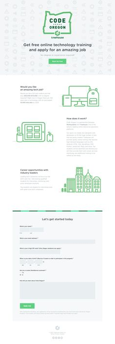 Responsive one pager with a clean flat design for 'Code Oregon' - an initiative to educated new designers and developers to fill the huge number of jobs needed in Oregon.