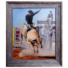 """Focus"" by James Van Fossan Bull Riding Painting"