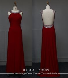 Custom Made Red Prom DressOpen Back Prom by DidoPromCustom on Etsy, $169.00
