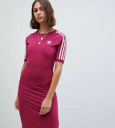 6f101c9c696d9 adidas Originals Three Stripe Midi Dress In Ruby - Mystery ruby f17