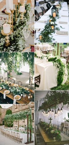 15 inspiring botanical wedding centerpieces - Page 6 of 9 - Cute Wedding Ideas Green Wedding, Floral Wedding, Rustic Wedding, Our Wedding, Wedding Flowers, Wedding Greenery, Trendy Wedding, Long Wedding Tables, Fall Wedding