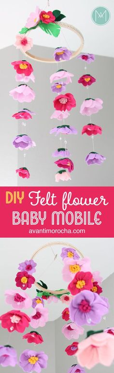 DIY Felt Flower Baby Mobile | Movil de Flores de Fieltro