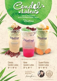 Chatime Malaysia are having their Classic Cendol-Latea Promotion now. Enjoy three exciting flavors including international-inspired Rose Cendol-Latea (Indonesia), Sweet Potato Cendol-Latea and many more. Food Graphic Design, Food Poster Design, Menu Design, Food Design, Drink Menu, Food And Drink, Social Design, Thai Tea, Coffee Poster