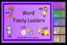 Word Family Ladders SMARTBoard Lesson FREE     The purpose of this activity is to help students with the reading of Word Families.     The following rimes are included:     ake - cake, wake, lake, rake, bake     en - den, hen, men, pen, ten     ick - Dick, kick, lick, Nick, sick     ock - rock, sock, tock, lock, clock     uck - buck, duck, luck, muck, truck
