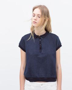 GEORGETTE BACK INDIGO POLO SHIRT-View all-T-shirts-WOMAN | ZARA United States