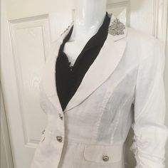 Linen White blazer style jacket New but no tags, linen white blazer style jacket suit top with quarter sleeves. INC International Concepts Jackets & Coats Blazers