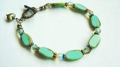 Glass Green Bracelet Bohemian Brass Aqua Green Jewelry Picasso Czech Glass Ocean Green Cuff Boho Chic Green Jewelry Fashion Trend Gift (27.00 USD) by BeadPassionbyAB